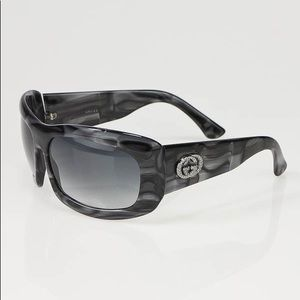 Gucci Black and White Marbled GG Logo Sunglasses